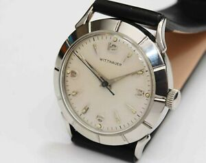 "1950s vintage STAINLESS STEEL WITTNAUER Men""s Wristwatch - EXCELLENT CONDITION"