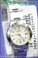 LTP-1241D-7A2 White Casio Stainless Steel Band Ladies Watches Date Display New