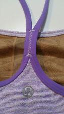 Lululemon Size 2 Power Y Tank Top Purple Lilac Wee Stripe EUC bra Yoga