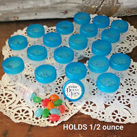 "50 Tiny 1 1/4"" Plastic JARS Trans Aqua Caps Holds One Half Ounce Screw Cap New"