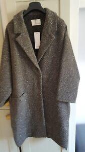 DESIGNER COAT John Lewis Oui brown Coat Oversized Design Size 16 BNWT RRP £365