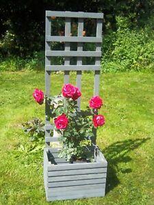 Grey Garden Planter with trellis quality timber UK Made 4ft tall free P&P