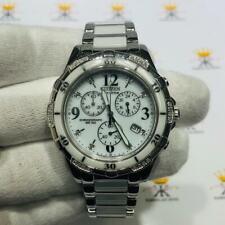 Citizen Eco-Drive Diamond Dial Ladies White Ceramic Stainless Steel Sport Watch