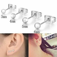 Womens Mens Round Plain Ball Earrings Small Stud Jewellery 925 Sterling Silver