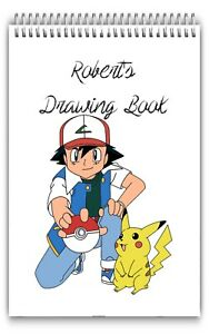A4 PERSONALISED DRAWING PAD/A4 SKETCH BOOK/ DOODLE PAD/A4 NOTEBOOKS POKEMON