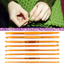 8 Pcs Gold Alumina Double End Crochet Hooks Knitting Needle Set Weave Yarn Craft