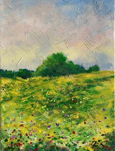 California Impressionist Painting Hills Sunny Meadows LANDSCAPE Semberecki