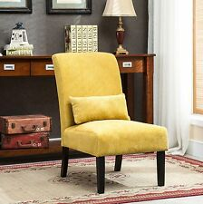 Pisano Yellow chenille Fabric Armless Contemporary Accent Chair with Pillow