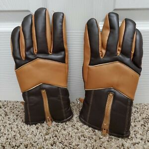 Mens Vintage Sherpa lined Moto Driving Gloves 1970s Size XL