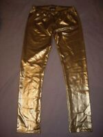Sakkas Shiny Gold Leggings Pants Poly/Spandex Size Large Made in USA!