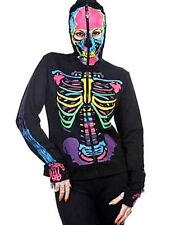 B62 Banned Popular Multicolour Skeleton Skulls Black Punk Rock Fashion Hoodie