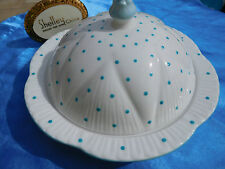 SHELLEY DAINTY  TURQUOISE POLKA DOTS  #13748 /P COVERED  BUTTER / MUFFIN DISH