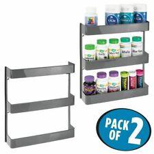 mDesign Large Wall Mount Vitamin Storage Organizer Shelf, 3 Tier