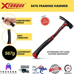 Xtorque 567g Framing Hammer Double Impact Steel Carpenters Straight Rip Claw NEW
