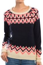 Womens Active USA Collection Navy Multi Pattern Print Knit Sweater SMALL