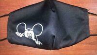Mund Nasen Maske Bedeckung schwarz weiß Mickey Mouse Micky Maus waschbar NEU