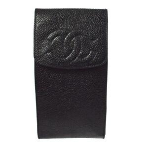 CHANEL CC Logos Sunglasses Case Black Caviar Skin Leather Vintage AK36826f
