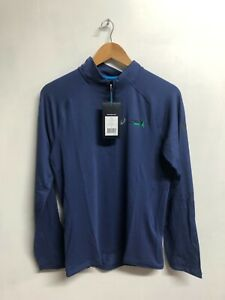Asics Men's 1/2 Zip Running Paris Marathon Long Sleeve Top Jersey - Blue - New