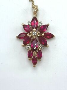 Ross Simons Sterling Silver Ruby Gold Overlay Necklace