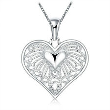 Fashion Women Heart Crystal Charm Sterling Silver Pendant Chain Necklace Jewelry