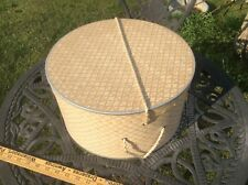 Vintage Cardboard Hat Box , Decorative Design, Rope Handle