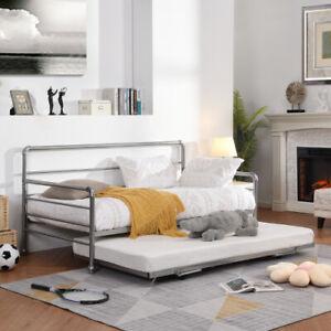 Twin Size Daybed W/ Adjust Trundle, Pop Up Trundle Platform Bed Home Steel Slats