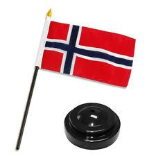 "Norway Norwegian Flag 4""x6"" Desk Set Table Stick Black Base"