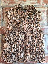 St John Knit SILK Vest Animal Print Zip GORGEOUS SZ L/14 PERFECT For FALL