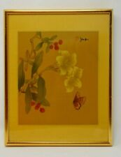 VTG Asian Cherry Blossom Butterfly Print Features Professional Gold Color Frame