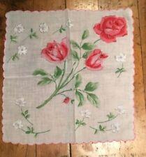 Vintage Ladies Hanky Beautiful Pink Roses.Perfect For Bride, Wedding.