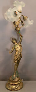 LG Antique ART NOUVEAU Statue TOGA MAN Wine God STATUE Figural NEWEL POST LAMP