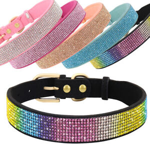 Bling Rhinestone Dog Collars Soft Suede Diamante Puppy Cat Crystal Necklace XS-L