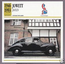 1946-1953 Jowett Javelin British Car Photo Spec Sheet Info French Atlas Card