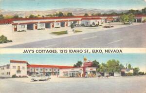ELKO, Nevada NV   JAY'S COTTAGES  Roadside Motel & Gas Station  VINTAGE Postcard