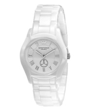 Emporio Armani AR-1405 Women's White Solid Stainless Steel Watch 0653
