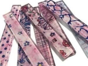 Purple Patterned Glass Tiles Strips 10 x 1.5 cm - Mosaic Craft Supplies