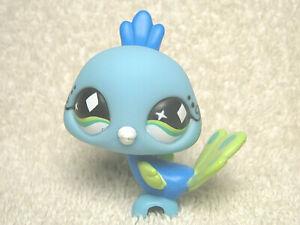 LITTLEST PET SHOP LPS #463 PEACOCK BIRD BLUE &GREEN W/ GREEN DIAMOND EYES HASBRO