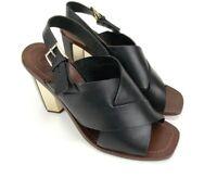 Tory Burch Womens Shoes Black Bleecker Slingback Leather Sandals Heels Size 9