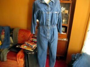 Dreams Vintage Denim jumpsuit Large 3/4 sleeve snap button up cropped