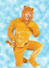 Lion Costume Adult 4 Pc Gold Velour & Faux Fur Muscle Chest Macho Lion OS