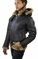Ladies Aviator New Ginger Women's Hooded Real Shearling Sheepskin Leather Jacket