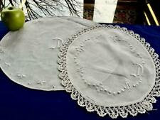 Lot 2 Antique Chic Linen Centerpiece Doilies Crochet Trim Embroidered Monogram D