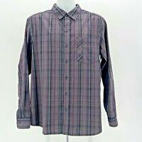 Columbia Omni-Wick Advance Evaporation Gray Plaid Button Shirt Mens Medium
