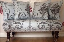 Long Footstool Stool & 4 Cushions Laura Ashley Josette Duck Egg Charcoal Fabric