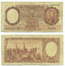 ARGENTINA NOTE 100 PESOS L.1935 (1947) CARRERAS-MAROGLIO B#2035 SERIAL A P 267b
