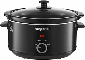 Emperial Slow Cooker 3.5L Removable Ceramic Pot Bowl Glass Lid Black