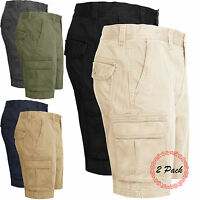 New Mens Pack of 2 Cargo Combat Chino Shorts Cotton Multi Pocket Half Pant