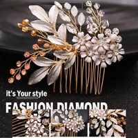 Wedding Party Crystal Hair Comb Hairwear Bridal Headpiece Flower Head Clip