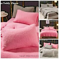 Teddy Fleece Duvet Cover Bedding Set Fitted Sheet Cosy Teddy Bear Warm Sherpa