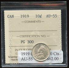 1919 Canada Ten Cents - ICCS AU-55 Cert#PG300